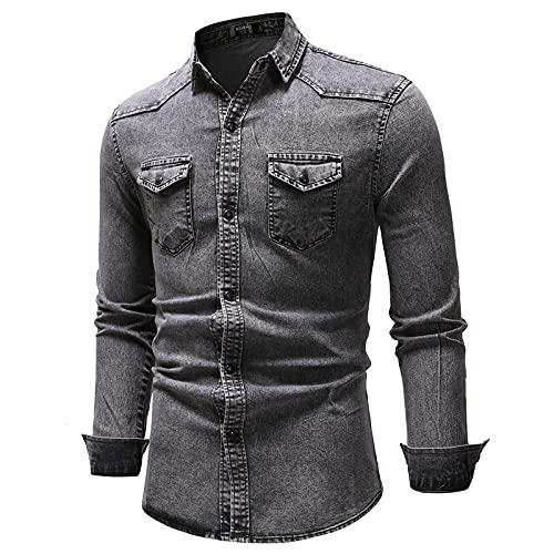 EVAEVA Blusas para Hombre Chaqueta Vaquera Camisa de Bolsillo Tops de Manga Larga con Bolsillos Camiseta de Otoño e Invierno Retro Camisas con Botones Casual Transpirable Polos Otoño Al Aire Libre