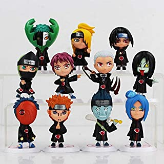 Romantic-Z 11 Unids / Lote Anime Japonés Q Versión Naruto Akatsuki PVC Figura de Colección Modelo Juguetes Regalo para Navidad