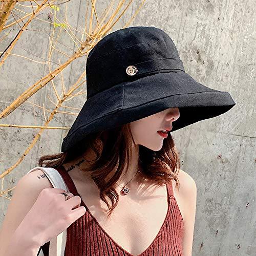 geiqianjiumai Fischerhut Weibliche Koreanische Outdoor Topf Kappe Kleine Frische Sonnenhut Atmungsaktive Sonnenblende Hut Schwarz M (56-58 cm)