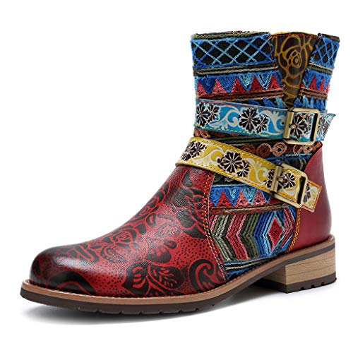 Damen Bunte Stiefel mit Abstaz Rutschfeste Shock Absorbing Stiefeletten Falt Boots Casual Damenstiefel