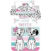 Kinderbettwäsche Disney III 2-teilig 100% Baumwolle 40x60 + 100x135 cm mit Reißverschluss (101 Dalmatiner)