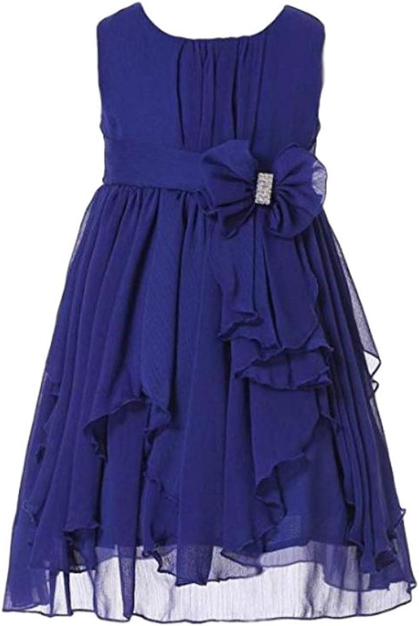 Glasshie Girl's Kids Bow Ruffled Chiffon Flower Round Neck Sleeveless Knee Length Dress