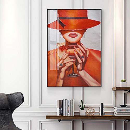 Impresión en lienzo Moda Mujer con sombrero Labios rojos Retrato Póster e impresiones Rayas Pintura en lienzo para la sala de estar Decoración del hogar-60x90 Sin marco