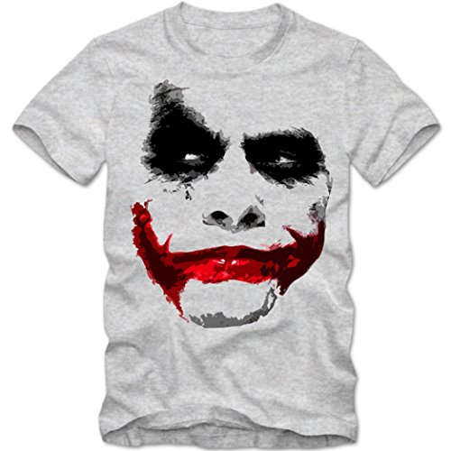 Herren T-Shirt Joker Heath Hollywood Batman Ledger Shirt DTG, Größe:XL, Farbe:Graumeliert