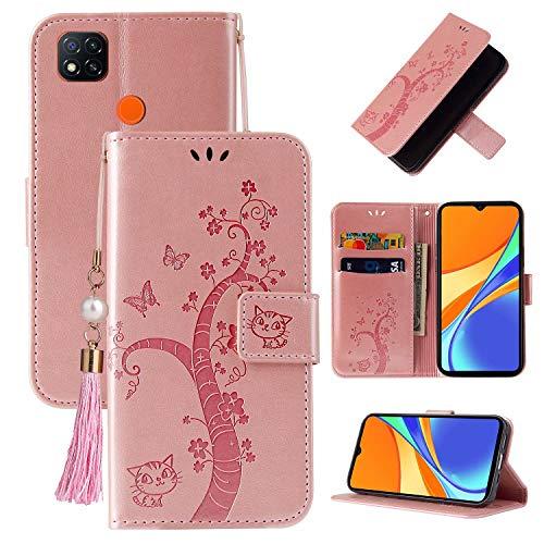 Miagon Brieftasche Flip Hülle für Xiaomi Redmi 9C,Schön Schmetterling Baum Katze Design PU Leder Buch Stil Stand Funktion Handyhülle Case Cover,Roségold