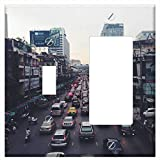Toggle Rocker/GFCI Combination Wall Plate Cover - Traffic Jam Traffic India Street City Road