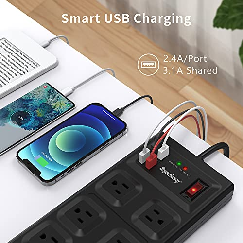 【5Ft & 10 Outlet & 4 USB Port】 SUPERDANNY Power Strip 2800J Surge Protector 15A, 5ft Extension Cord Mountable Outlet Extender Multi-Protection Flat Plug for iPhone iPad Tablet Home Office Dorm Black