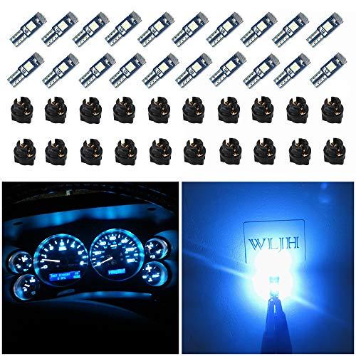 WLJH 74 bombillas LED para salpicadero 3SMD super brillantes T5 2721 37 286 PC74 Twist Socket Kit luces panel de instrumentos de luces indicador cambio clúster interiores azul hielo, paquete d