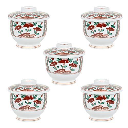 5個セット間取花 小むし碗 [ 7.2 x 7.5cm 170g ] 【 小吸碗 】 【 料亭 旅館 和食器 飲食店 業務用 】