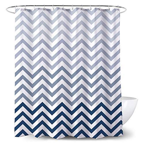 Blue Striped Fabric Shower Curtain Chevron Pattern