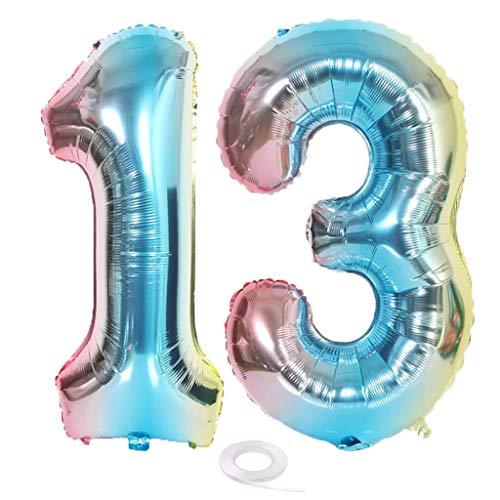 SNOWZAN XL Zahlen Ballon Nummer 13.Luftballon Regenbogen Mädchen Junge Luftballons Zahl 13.Geburtstag Deko Blau Rose Bunt Schillernde 13 Jahre FolienBallon 32 zoll Riesen Helium Happy Birthday Party