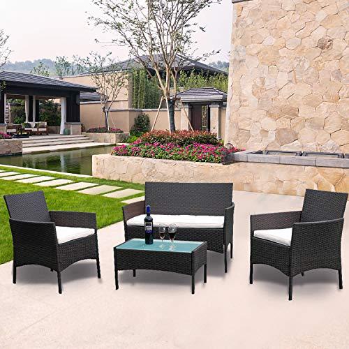 Hengda Polyrattan Lounge Sitzgruppe für 4 Personen inkl. Sitzpolster und Tisch, Braun, Komfortabel Gartenmöbel Terrassenmöbel für Balkon, Garten, Terrasse - 6