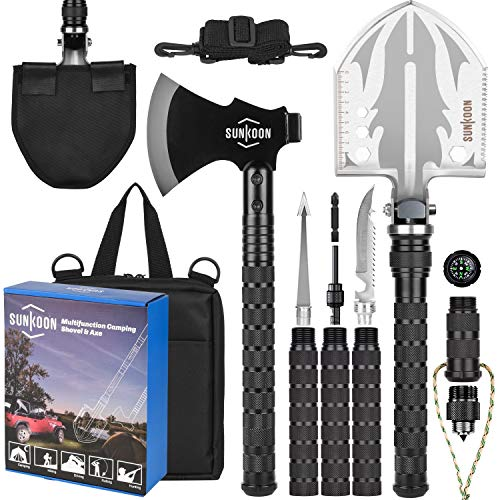 Sunkoon Camping Shovel Survival Axe Multifunctional Folding Shovel with 19.2-37.8inch Lengthened Handle Enlarged Shovelhead High Carbon Stainless Steel with Storage Pouch for Camping, Cycling, Hiking