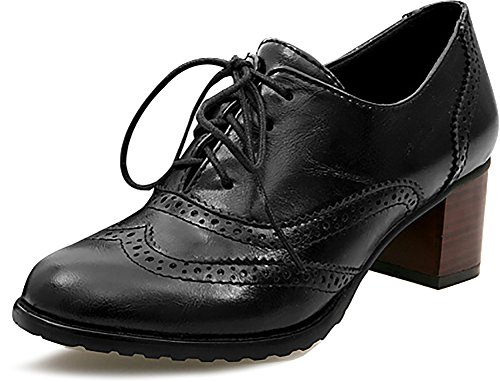 Odema Womens pu Leather Brogue Oxfords Wingtip Lace Up Dress Shoes High Heels Pumps Black