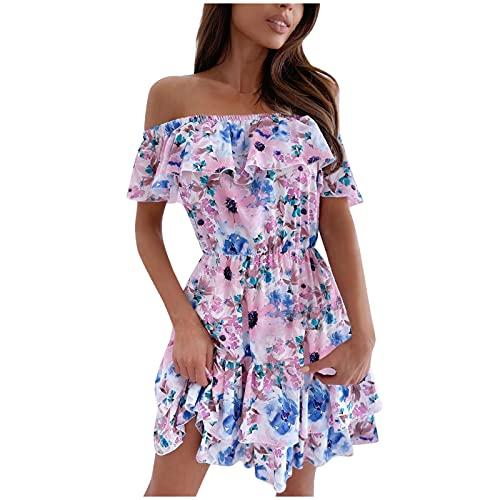 Lalaluka Vestido de mujer con corsé de flores, vestido de playa, falda acampanada Rosa. XL