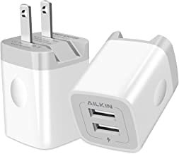 USB Wall Charger, Foldable Charger Adapter, Ailkin 2Pack 2.4Amp Dual Port Quick Charger Plug Cube Replacement for Phone X/XS/MAX/XR/8/7/6S Plus, Samsung Galaxy S10/S9/S8 Edge, LG, HTC Moto, Kindle
