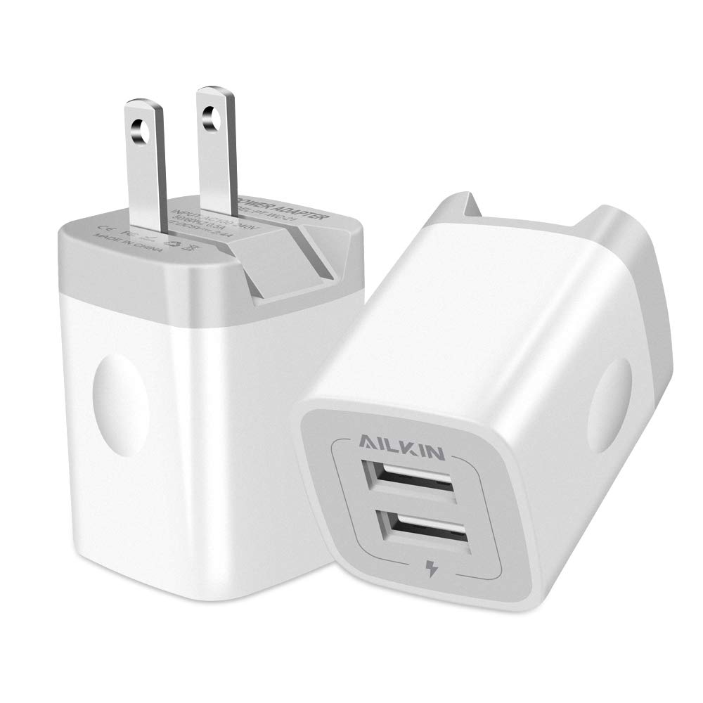 Moto 4-Pack 2.1A Dual Port USB Cube Charger Plug Power Adapter Charging Block Compatible with iPhone Xs//XR//Xs Plus//X 8//7//6 Plus IVELLTARE USB Wall Charger Samsung Android Phones More LG