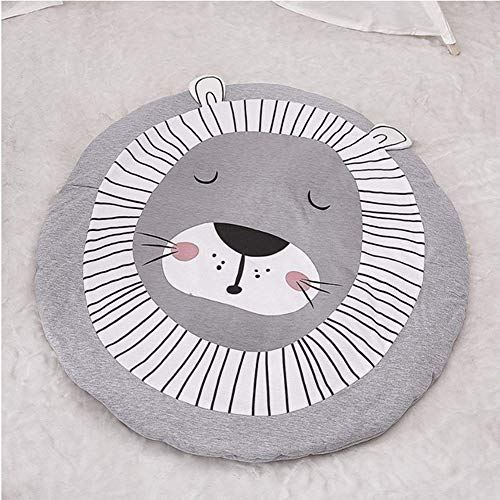 Weiche Babyspielmatte, Krabbeldecke aus Baumwolle für Kinder, Babyspielmatte und Fitnessstudio, Löwe, ungiftige Schaumstoff-Puzzle-Bodenmatte für Kinder, 35 Zoll Durchmesser