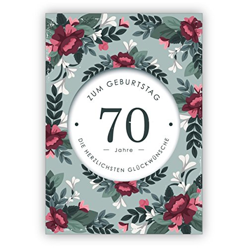 In 5-delige set: Klassiek liefdevolle verjaardagskaart met decoratieve bloemen voor 70e verjaardag: 70 jaar voor de verjaardag de hartelijke felicitaties