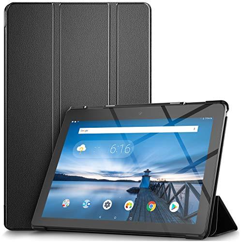 IVSO Hülle für Lenovo TAB E10 TB-X104F 10.1 Zoll, Ultra Schlank Slim zubehör Schutzhülle Hochwertiges PU Leder-mit Standfunktion Ideal Geeignet für Lenovo TAB E10 10 Zoll 2018 Tablet PC, Schwarz