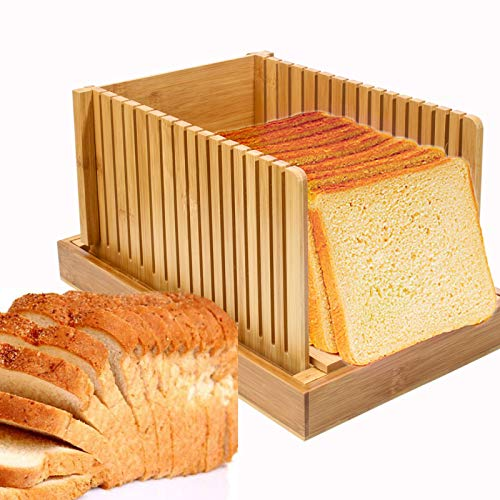 Wood Foldable Bread Slicer, Bread Cutter for Homemade Bread, Loaf Cakes, Bagels