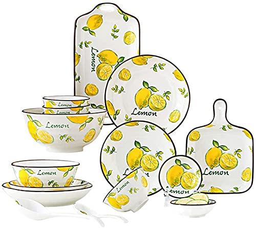 ZRB Juego de vajilla clásica, vajilla de cerámica, vajilla de fruta, incluye platos/cuencos/cuchara, para el hogar cocina y comedor, 31 piezas