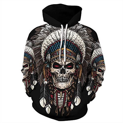 yanghuakeshangmaoyouxiangong Unisex 3D Indian Skull Print Hoodie Unisex Hoodie Sweatshirt Pullover