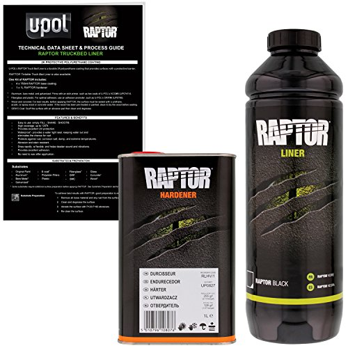 U-POL Raptor Black Urethane Spray-On Truck Bed Liner & Texture Coating, 1 Liter