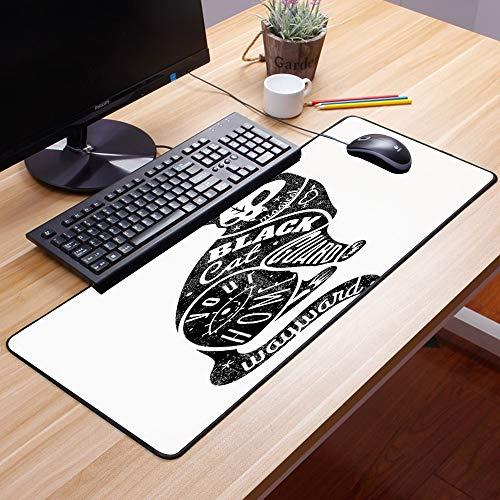 Gaming Mauspad - 600 x 350 mm,Moderner, schwarzer Glückszauberer-Schädel-Katze, die mit Teil-magischem Zitat-Grafik-Bild,Vernähte Kanten - rutschfest - Mousepad mit Einer Gummiunterseite Oberfläche