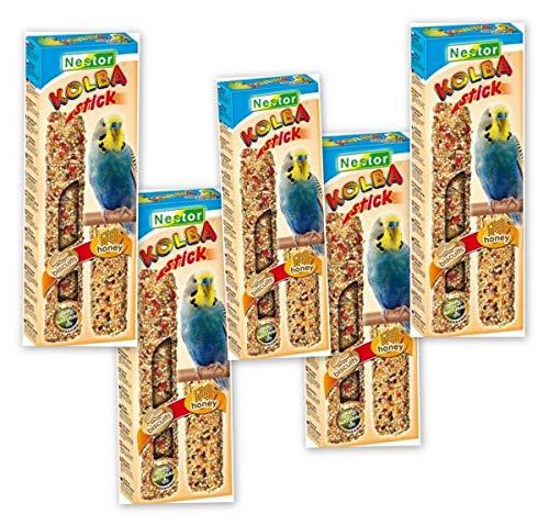 NESTOR Vogelfutter für Wellensittiche mit Biskuit + Honig 5 Pack Knabbersticks