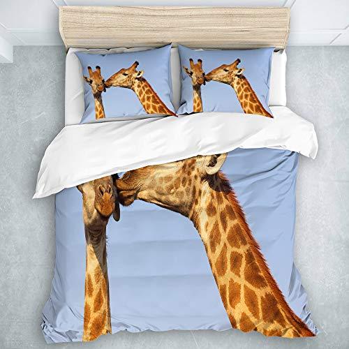 Haoerwu 100% Soft Microfiber Lightweight Duvet Cover Sets,Giraffe pair bonding in the Kruger National Park South Africa,Decorative 3D Print Bedding Set with 2 Pillowcase,Super King