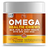 Ready Pet Go! Omega 3 for Dogs - Dog Shedding, Skin Allergy, Itch Relief, Mange and Hot Spots Treatment - EPA & DHA - Natural Joint Supplement for Dogs, Heart and Brain Health - 90 Fish Oil Soft Chews