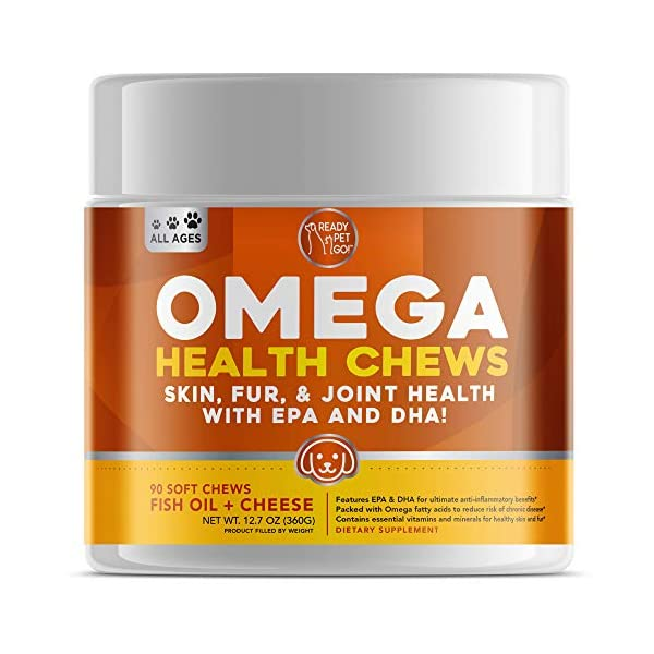 Ready Pet Go! Omega 3 for Dogs | Fish Oil for Dog Shedding, Skin Allergy, Itch Relief,...
