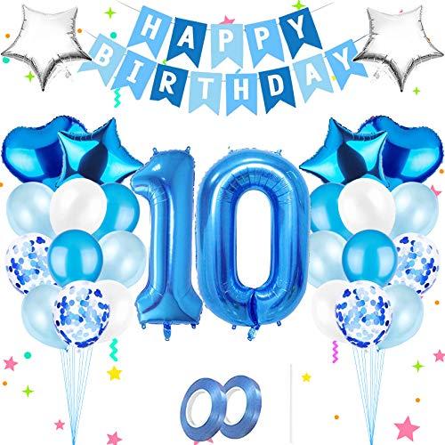 Luftballon 10,Happy Birthday Folienballon,Nummerndekoration,Blau Luftballons Metallic,Riesen Folienballon,Happy Birthday Folienballon,Happy Birthday Dekoration Zahl,Happy Birthday Dekoration