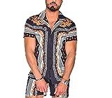 Camisa con Estampado Boho para Hombre, Cuello Cubano, Manga Corta, Camisa de Playa de Verano, Bloque de Color Casual Slim fit