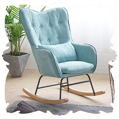 LIXIONG Outdoor Garden Relax Rocking Chair Indoor Armchairs Living Room Lounge Chair Zero Gravity Sling Chair All Weather Glider Patio Porches, 4 Colour (Color : Blue, Size : 81x64x95cm)