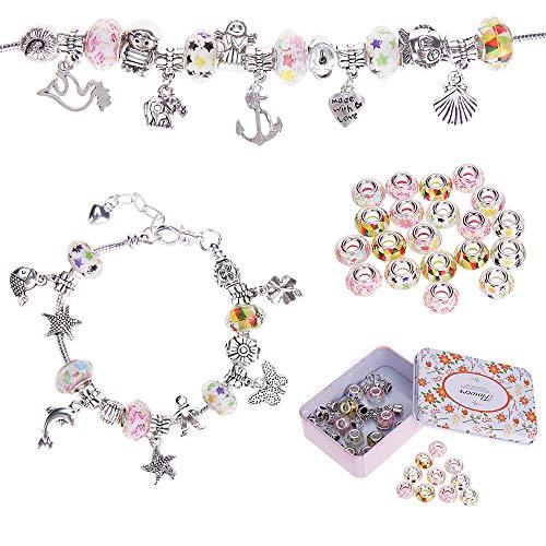 Nabance Charm Armband Kit Silber Kette mit DIY Handwerk Perle Armband Mädchen DIY Schmuck Armband Bastelset Geschenke für Mädchen