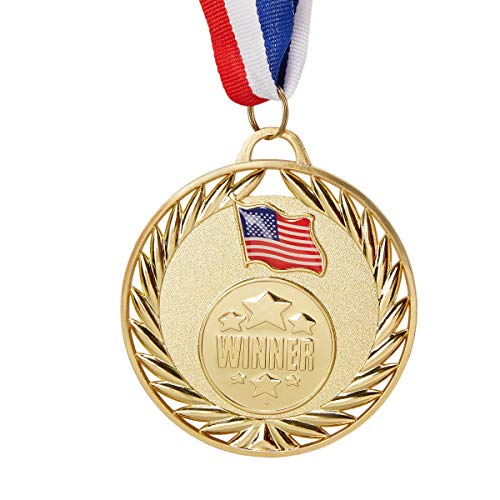 Juvale 12-Pack Bulk Metal Olympic Style Gold Winner Award Medals with Ribbons for Sports and Competitions, 2.7 Inches Diameter