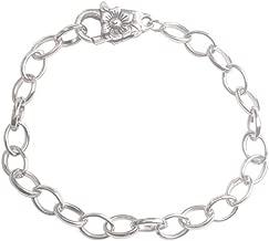 ChangJin 10PCS Silver Tone Metal Chain Flower Clasp Bracelets 22cm for Jewelry Making