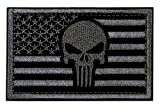 Tactical Patches of American Flag with Skull, Backed with Hook and Loop for Use on Backpacks Caps Jackets Uniforms, Military Army Morale Emblems, Size 3x2 Inches