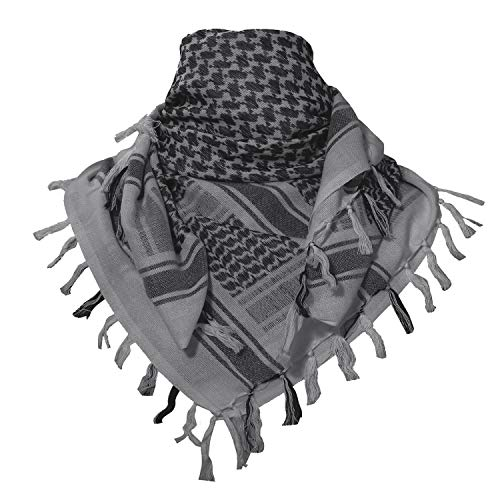 TACVASEN Outdoor Military Shemagh Head Neck Tactical Scarf Arab Wrap Gray