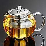 Teiera in vetro trasparente da 650 ml con infusore in acciaio inox resistente al calore, infusore per teiera in vetro 650 ml, coperchio in acciaio inox 304, ideale per tè e caffè