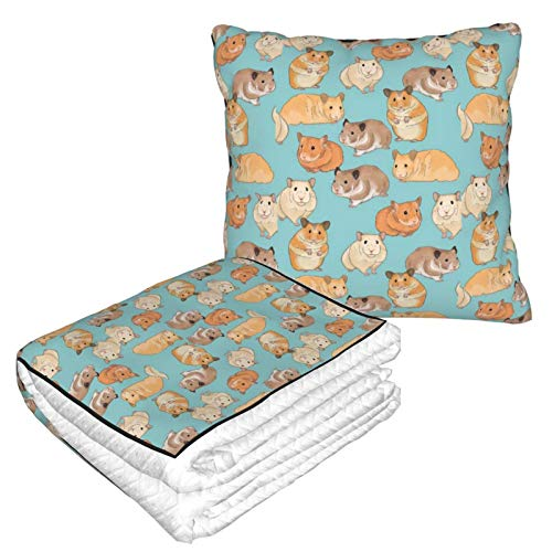 Lsjuee Hamster 2 in 1 Wurfdecke, leichtes, strapazierfähiges Decken-Reisekissen