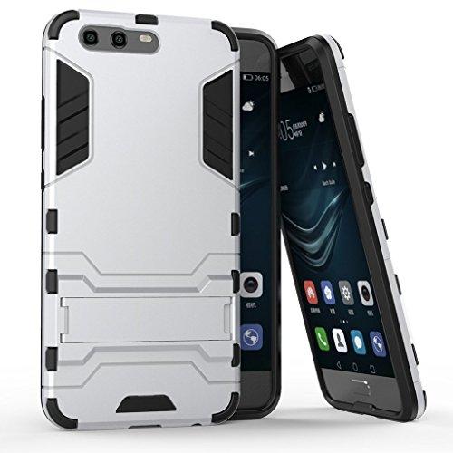 MaiJin Funda para Huawei P10 (5,1 Pulgadas) 2 en 1 Híbrida Rugged Armor Case Choque Absorción Protección Dual Layer Bumper Carcasa con Pata de Cabra (Plateado)