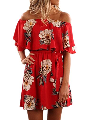 KBOOK Women's Off Shoulder Floral Print Cute Vacation Boho Short Sleeve Casual Mini Party Dress with Belt Red