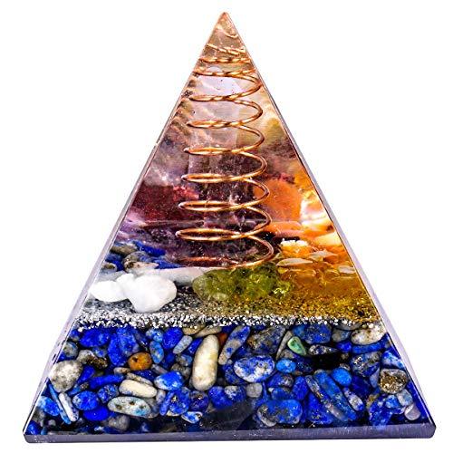 mookaitedecor Heilstein Kristall Pyramide mit Lapislazuli, Positive Energiepyramide für EMF Schutz Meditation/Yoga/Heilchakra/Wohnkultur 50mm