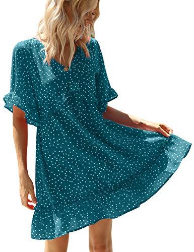 AGQT vestido de túnica casual de verano con volantes, cuello en V, estampado floral, manga corta, suelto, mini vestido -  Verde -  X-Large