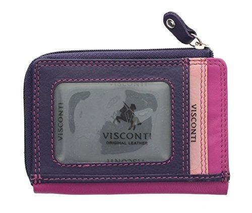 Porta carte di credito sottile di pelle.Visconti collezione Rainbow PHI PHI RB110 Bacca Multi