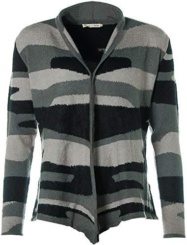 Barbara Becker Damen Strickjacke Knit Cardigan Strasssteine Comouflage Dark Grey 38