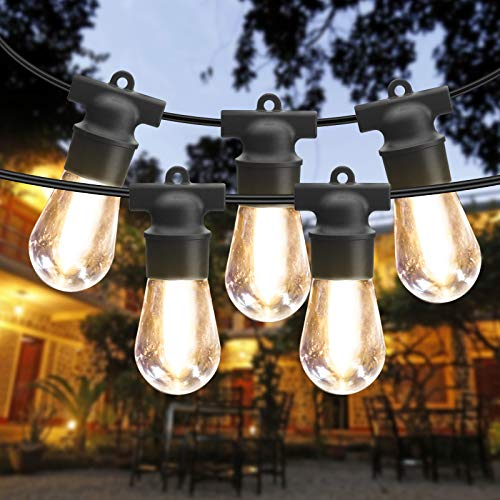 2 Pack 48FT Outdoor String Lights Waterproof Patio Lights LED String Lights Commercial Hanging Lights S14 String Lights with 4 Spare 2700K Bulbs Outdoor Lights String Decorative Patio Porch Garden